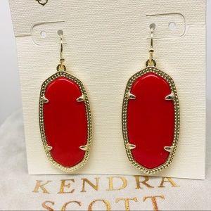 Kendra Elle Bright Red/gold tone border earrings